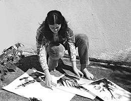 Phillips with some of her art 1972